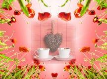 Carta del biglietto di S. Valentino come cuore con i papaveri nell'incandescenza del ` s del sole (14 febbraio, Fotografie Stock