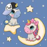 Carta del biglietto di S. Valentino con gli unicorni su una luna e su una stella illustrazione di stock