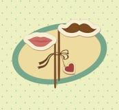 Carta del biglietto di S. Valentino con i baffi e le labbra. Royalty Illustrazione gratis