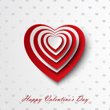 Carta del biglietto di S. Valentino con i cuori rossi e bianchi Fotografie Stock