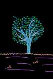 Carta del biglietto di S. Valentino con il disegno filtrato dell'albero e dei cuori Fotografia Stock Libera da Diritti