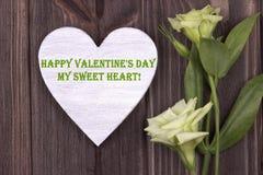 Carta del biglietto di S. Valentino con il giorno felice del testo il mio verde dell'innamorato Immagine Stock Libera da Diritti