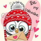Carta del biglietto di S. Valentino con il pinguino sveglio del fumetto royalty illustrazione gratis