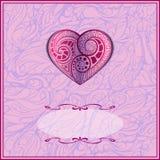 Carta del biglietto di S. Valentino con l'ornamento Immagine Stock
