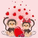 Carta del biglietto di S. Valentino con le scimmie degli amanti royalty illustrazione gratis