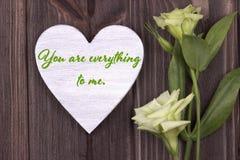Carta del biglietto di S. Valentino con testo siete tutto a me verde Immagini Stock