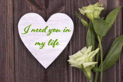 Carta del biglietto di S. Valentino con testo vi ho bisogno nel mio verde di vita Fotografia Stock