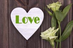 Carta del biglietto di S. Valentino con verde di amore del testo Fotografie Stock