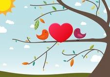 Carta del biglietto di S. Valentino degli uccelli di amore Fotografia Stock
