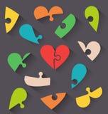 Carta del biglietto di S. Valentino dei cuori di puzzle Immagini Stock
