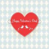 Carta del biglietto di S. Valentino di vettore con gli uccelli svegli Immagini Stock