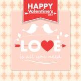 Carta del biglietto di S. Valentino di vettore con gli uccelli svegli Fotografia Stock