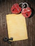 Carta del blanck del amor con el padl dos fotografía de archivo