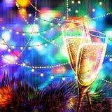 Carta del buon anno con i bicchieri di vino Fotografia Stock