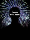Carta del buon anno con i fuochi d'artificio illustrazione vettoriale