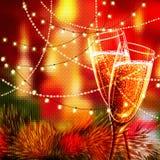 Carta del buon anno con i vetri di champagne Immagine Stock Libera da Diritti
