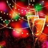 Carta del buon anno con i vetri di champagne Fotografia Stock