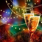 Carta del buon anno con i vetri di champagne Immagine Stock