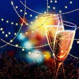 Carta del buon anno con i vetri di champagne Immagini Stock