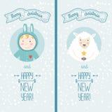 Carta del buon anno con il ragazzo e le pecore Fotografia Stock