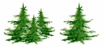 Carta del buon anno della raccolta degli alberi dell'acquerello di Buon Natale, illustrazione di vettore dei manifesti immagini stock