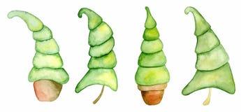 Carta del buon anno della raccolta degli alberi dell'acquerello di Buon Natale, illustrazione di vettore dei manifesti fotografia stock libera da diritti