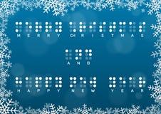 Carta del buon anno e di Buon Natale con il saluto di Braille Immagini Stock
