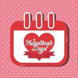 Carta del calendario di giorno di biglietti di S. Valentino - illustrazione di vettore Fotografia Stock Libera da Diritti