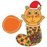 Carta del cappello di Natale della calza del gatto Immagine Stock