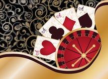 Carta del casinò con gli elementi e le roulette della mazza Immagini Stock