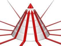 Carta del cono con las flechas rojas Fotografía de archivo libre de regalías