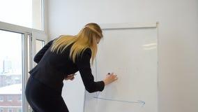 Carta del dibujo de la mujer joven en el flipchart blanco mientras que reunión de negocios en oficina almacen de metraje de vídeo