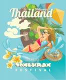 Carta del festival di Songkran in Tailandia con la bella donna Feste tailandesi Immagine Stock