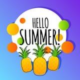 Carta del fondo di vettore di estate con gli ananas Fotografia Stock