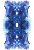 Carta del fondo verticale simmetrico di astrazione della prova della macchia d'inchiostro del rorschach Immagine blu dell'acquere royalty illustrazione gratis