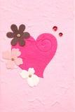 Carta del gelso con cuore ed il fiore Fotografie Stock