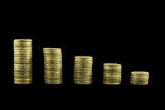 Carta del gráfico de las monedas fotografía de archivo libre de regalías