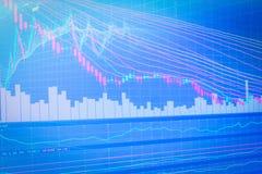 Carta del gráfico del comercio de la inversión del mercado de acción Fotografía de archivo