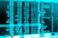 Carta del gráfico del mercado de acción de la inversión, exposición doble Imágenes de archivo libres de regalías