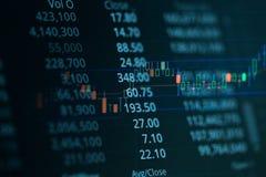 Carta del gráfico del palillo de la vela del negocio del comercio de la inversión del mercado de acción Fotos de archivo libres de regalías