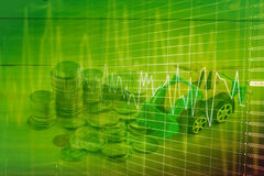 Carta del gráfico del comercio de la inversión del mercado de acción Foto de archivo libre de regalías