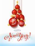 Carta 2017 del manifesto della decorazione del buon anno e fondo di Buon Natale Illustrazione di Stock