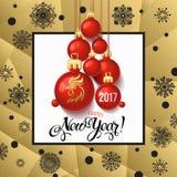 Carta 2017 del manifesto della decorazione del buon anno e fondo di Buon Natale Fotografie Stock