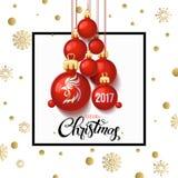 Carta 2017 del manifesto della decorazione del buon anno e fondo di Buon Natale Illustrazione Vettoriale