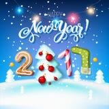 Carta 2017 del manifesto della decorazione del segno del buon anno Fotografia Stock