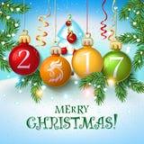 Carta 2017 del manifesto della decorazione di Buon Natale Fotografia Stock Libera da Diritti