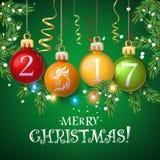 Carta 2017 del manifesto della decorazione di Buon Natale Illustrazione di Stock