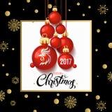 Carta 2017 del manifesto della decorazione di Buon Natale Immagini Stock Libere da Diritti