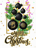Carta 2017 del manifesto della decorazione di Buon Natale e fondo del buon anno Immagini Stock Libere da Diritti