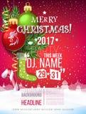 Carta 2017 del manifesto della decorazione di Buon Natale e fondo del nuovo anno Immagine Stock